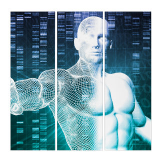 Medical Technology with Scientist Engineer on DNA Triptych
