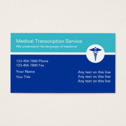 Healthcare business cards templates zazzle medical transcription business cards colourmoves Images
