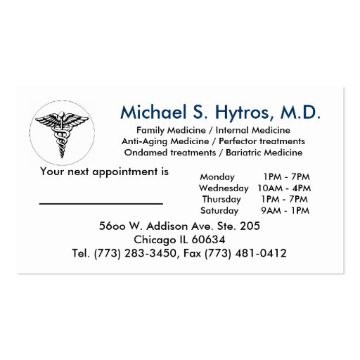Medicalsymbol2 michael s hytros md family for Family business cards