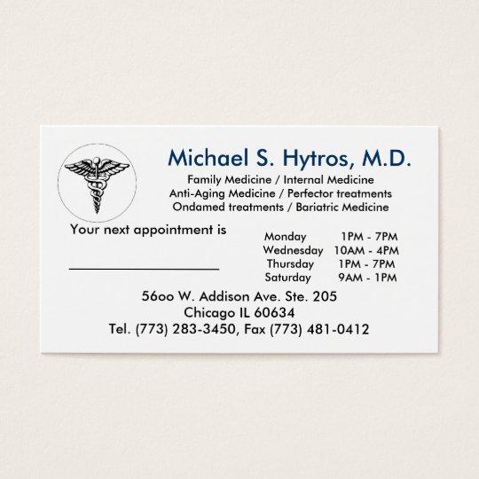 Medicalsymbol2 Michael S Hytros M D Family Business Card