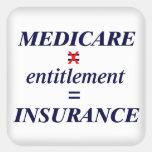 Medicare not Entitlement Square Sticker