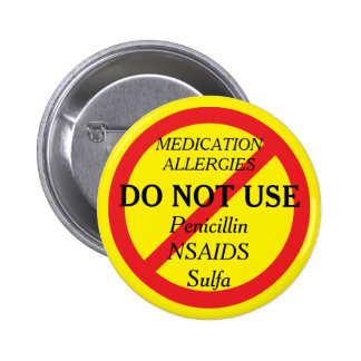 Medication Allergies Yellow Medical Alert 2 Inch Round Button