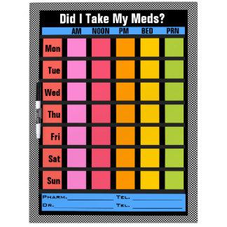 Medication Check List (Customizable) Dry Erase Board