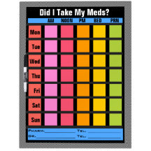 Medication Check List (Customizable) Dry Erase White Board