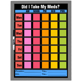 Medication Check List (Customizable) Dry Erase Whiteboards