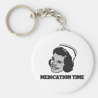 Medication Time Funny Nurse Parody Humor Basic Round Button Keychain