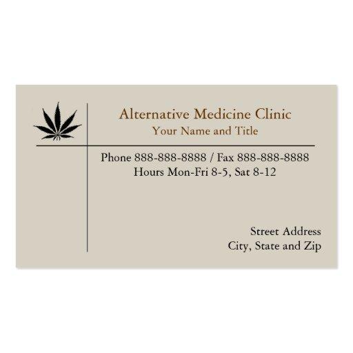 Medicina alternativa de la marijuana médica tarjetas de visita