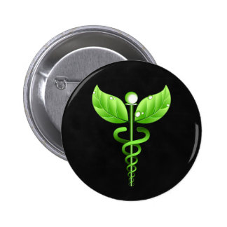 Medicina alternativa del caduceo verde oscuro pin redondo de 2 pulgadas