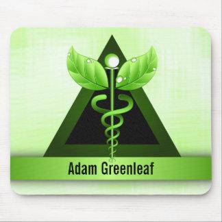 Medicina alternativa Mousepads del caduceo verde