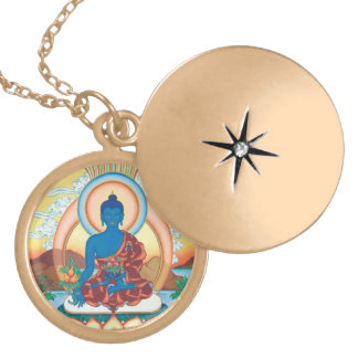 Medicina Buda - amo de la cura - locket redondo Pendientes