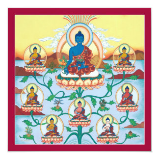 """Medicina Buddhas - tarjeta cuadrada de la TARJETA Invitación 5.25"""" X 5.25"""""""
