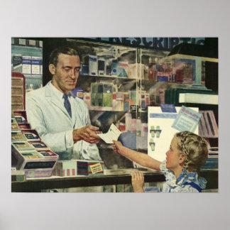 Medicina del vintage, chica en la farmacia póster