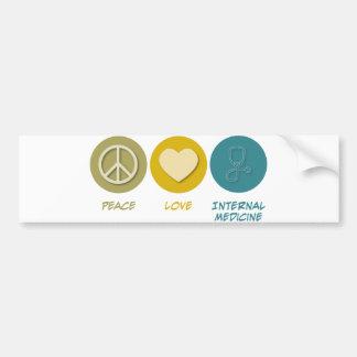 Medicina interna del amor de la paz etiqueta de parachoque