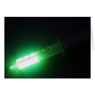 Medicina, luminiscencia verde tarjeton