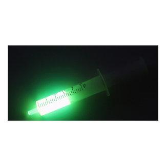 Medicina, luminiscencia verde tarjetas personales con fotos