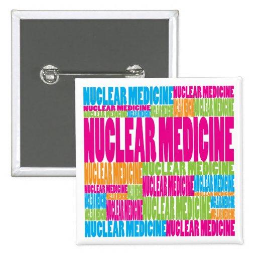 Medicina nuclear colorida pin cuadrado