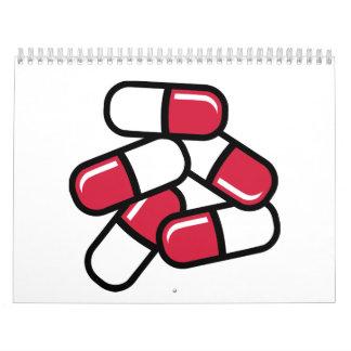 Medicina roja de las píldoras calendarios de pared