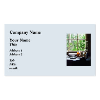 Medicine and Hurricane Lamp on Desk Double-Sided Standard Business Cards (Pack Of 100)