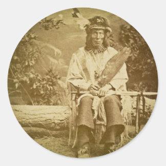 Medicine Bear Sioux Indian Chief Vintage Classic Round Sticker