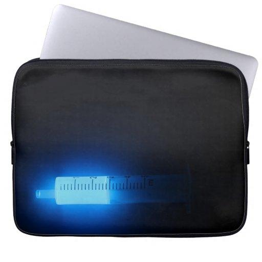 Medicine, blue luminescence. laptop sleeve