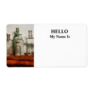 Medicine Bottles Tall and Short Label