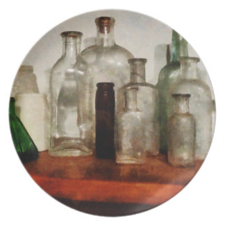 Medicine Bottles Tall and Short Plate
