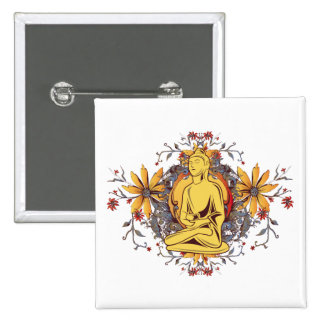 Medicine Buddha in Meditation 2 Inch Square Button