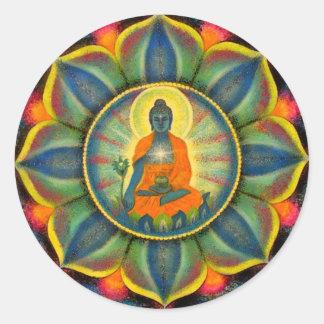 Medicine Buddha Mandala Art Round Stickers