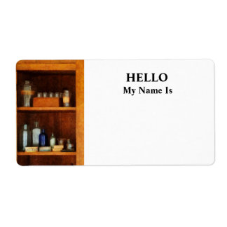 Medicine Cabinet with Asthma Medication Label
