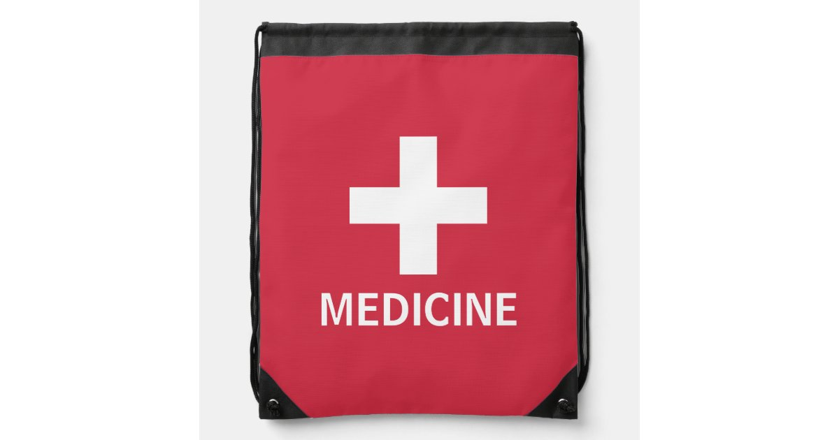 Medicine First Aid Symbol Red Medical Kit Drawstring Bag Zazzle