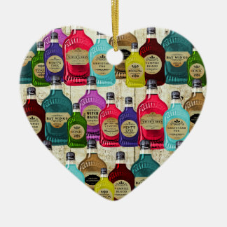 Medicine Man Magic Potion Apothecary Tonic Bottles Double-Sided Heart Ceramic Christmas Ornament
