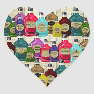 Medicine Man Magic Potion Apothecary Tonic Bottles Heart Sticker