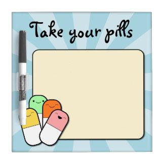 Medicine reminder dry erase board