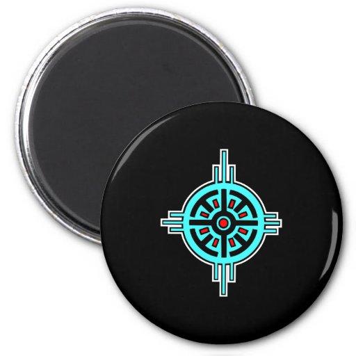 Medicine Wheel-Black 2 Inch Round Magnet