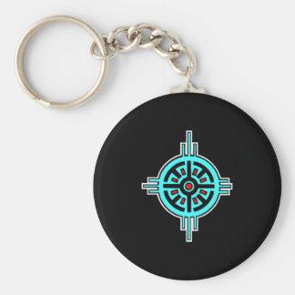 Medicine Wheel-Black Basic Round Button Keychain