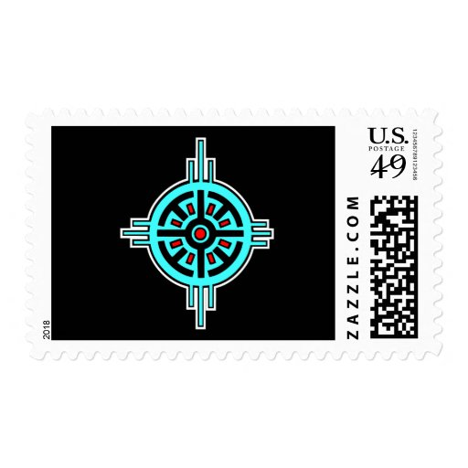 Medicine Wheel-Black Postage Stamp