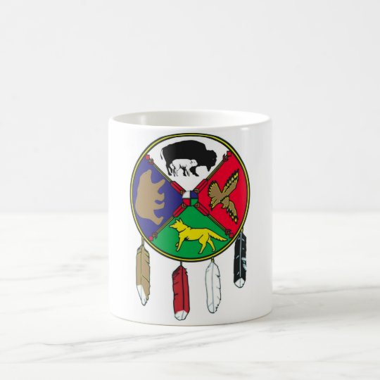 Medicine Wheel Mug w/feather decoration