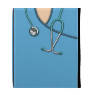 Médico azul friega
