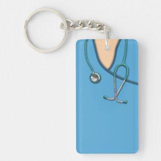Médico azul friega llavero rectangular acrílico a doble cara