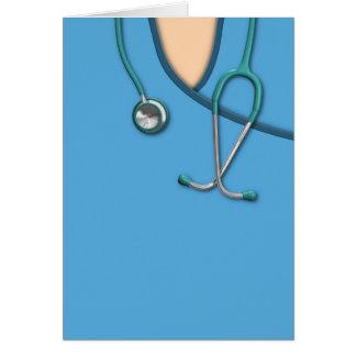 Médico azul friega tarjeta de felicitación
