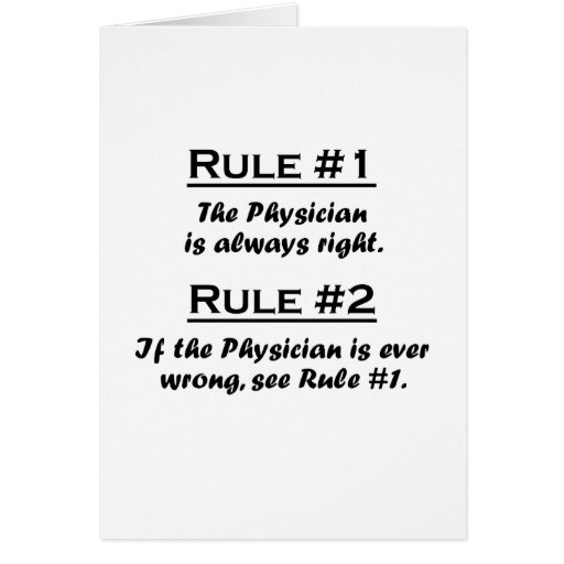 Médico de la regla tarjeta pequeña