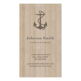 Médico de los deportes - madera náutica del ancla tarjetas de visita