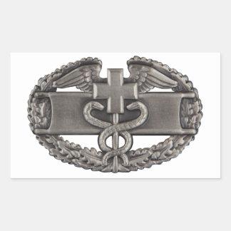 Médico del combate pegatina rectangular