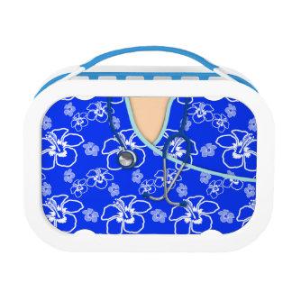 Médico floral azul y blanco friega