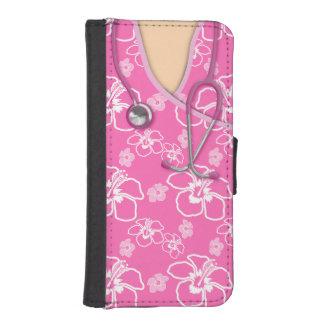 Médico floral del rosa y blanco friega fundas tipo billetera para iPhone 5