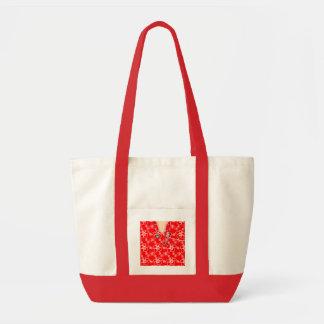 Médico floral rojo y blanco friega bolsas de mano