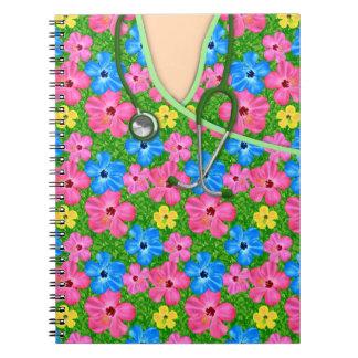 Médico floral tropical friega libros de apuntes