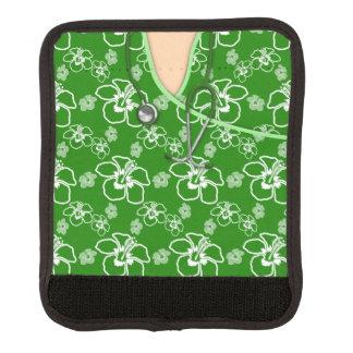 Médico floral verde y blanco friega funda para asa de maleta
