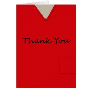 Médico friega al doctor Red Custom Thank You de Tarjeta Pequeña