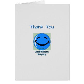 Médico gracias cirugía ambulativa tarjeta de felicitación